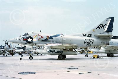 A-4USN 00105 A USN Douglas A-4C Skyhawk attack jet, 149493, VA-66 WALDOMEN, USS Intrepid, 6-1969, airplane picture, by Duane A Kasulka