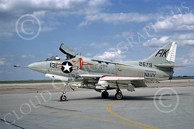 A-4USN 00032 A US Navy Douglas A-4 Skyhawk, 142679, USS Intrepid, with missiles and mission marks, NAS Lemoore 3-1967, airplane picture, by Clay Janson
