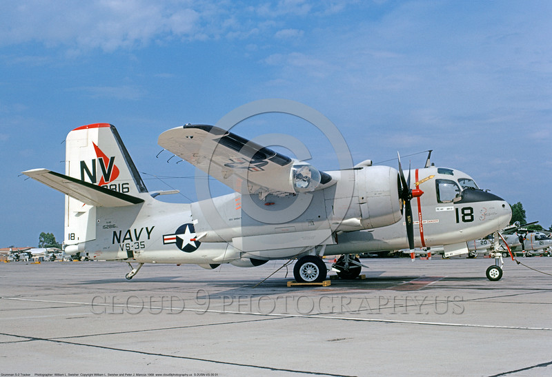 S-2USN-VS-35 001 A static Grumman S-2E Tracker anti-submarine warfare airplane USN 152816 VS-35 BOOMERANGERS USS Hornet NAS North Island 7-1968 military airplane picture by William L Swisher     DONEwt copy