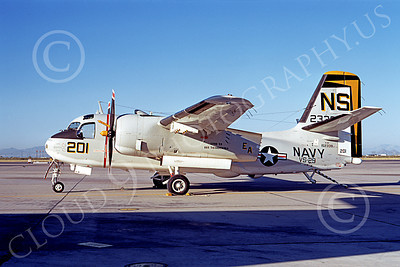 S-2USN 00021 A static Grumman S-2E Tracker USN 152339 VS-29 TROMBONERS USS Ticonderoga 3-1972 military airplane picture by Clay Janson