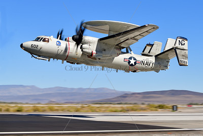 E-2D-USN-VAW-117 002 A Northrop Grumman E-2D Advanced Hawkeye USN airborne command aircraft, 169069, VAW-117 WALLBANGERS USS Abraham Lincoln, NG tail code, taking off at NAS Fallon 9-2021, military airplane picture by Peter J  Mancus  852_0037  T