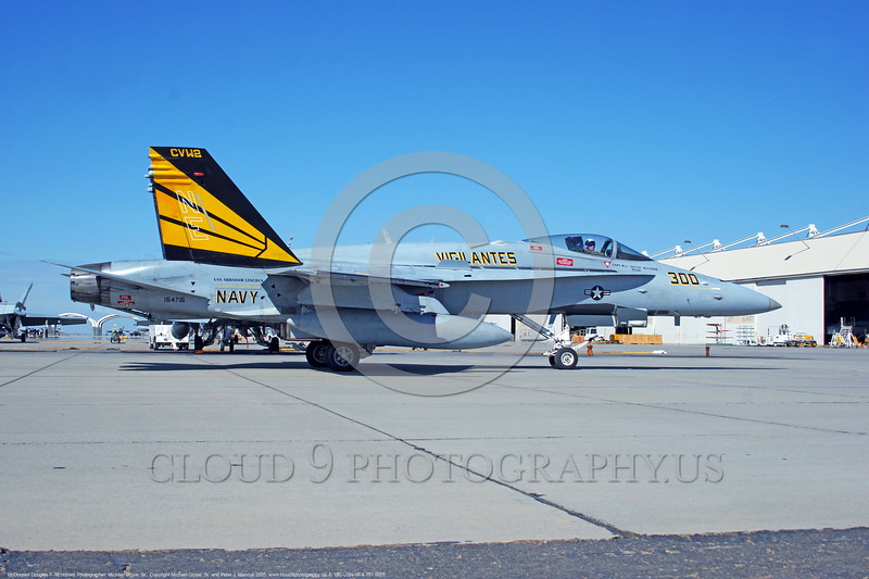 F-18C-USN-VFA-151 0001  A static McDonnell Douglas F-18C Hornet USN jet fighter 164716 VFA-151 VIGILANTES commanding officer's airplane USS Abraham Lincoln NAS Lemoore 10-2005 military airplane picture by Michael Grove, Sr      DONEwt
