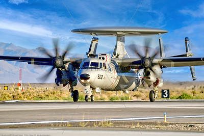 E-2D-USN-VAW-117 003 A Northrop Grumman E-2D Advanced Hawkeye USN airborne command aircraft, VAW-117 WALLBANGERS, taking off at NAS Fallon 9-2021, military airplane picture by Peter J  Mancus  852_2413  T