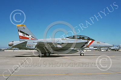 Boeing F-18F-USN 00011 A static Boeing F-18F Super Hornet USN 165916 VFA-2 BOUNTY HUNTERS USS Abraham Lincoln NAS Fallon 7-2003 military airplane picture by Michael Grove, Sr