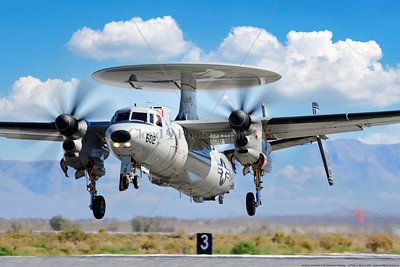 E-2D-USN-VAW-117 001 A Northrop Grumman E-2D Advanced Hawkeye USN airborne command aircraft, VAW-117 WALLBANGERS, taking off at NAS Fallon 9-2021, military airplane picture by Peter J  Mancus  852_0025  T