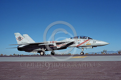 F-14USN 00935 A taxing Grumman F-14 Tomcat USN VF-102 DIAMONDBACKS USS America NAS Fallon 10-1983, by Michael Grove, Sr