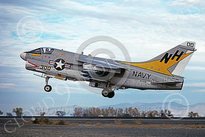 A-7USN 00156 A landing Vought A-7E Corsair II USN 157546 VA-192 GOLDEN DRAGONS commanding officer's USS America NAS Fallon 11-1978 military airplane picture by Michael Grove, Sr