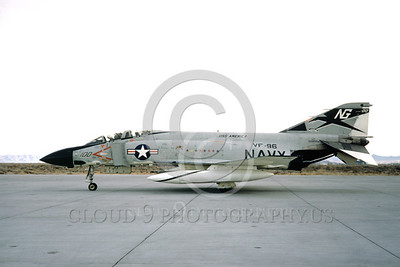 F-4USN 00527A A taxing McDonnell Douglas F-4J Phantom II US Navy 155800 VF-96 WORLD FAMOUS FIGHTING FALCONS commanding officer's USS America NG NAS Fallon 3-1970 by Doug Olson