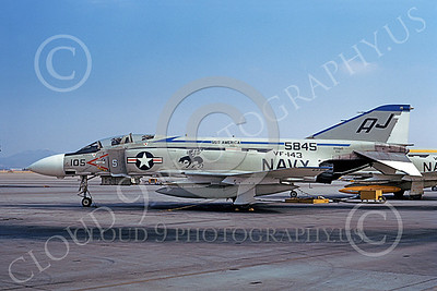 F-4USN 00747 A static McDonnell Douglas F-4J Phantom II US Navy 155845 VF-143 PUKIN' DOGS USS America NAS Miramar 10-1973 military airplane picture by Michael Grove, Sr
