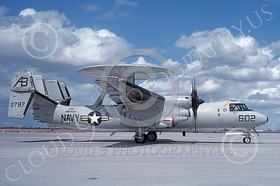 E-2USN 00141 A taxing Grumman E-2C Hawkeye USN 162797 VAW-123 SCREWTOPS USS America NAS Fallon 3-1993 military airplane picture by Michael Grove, Sr