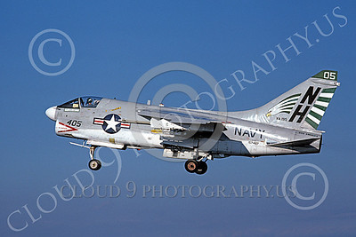A-7USN 00154 A landing Vought A-7E Corsair II USN 157487 VA-195 DAM BUSTERS USS America 11-1978 military airplane picture by Michael Grove, Sr