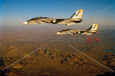 F-14USN-VF-142 0002 Two flying Grumman F-14 Tomcats USN jet fighters VF-142 GHOSTRIDERS USS America AE tail code 1-1977 military airplane picture by Robert L Lawson     Dwt