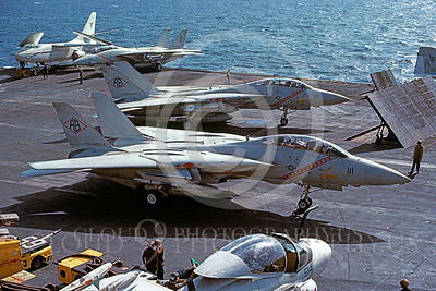 F-14USN 00937 A Grumman F-14 Tomcat USN 161283 VF-102 DIAMONDBACKS taxis on USS America 3-1983, by Steve Daniels
