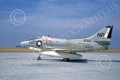 A-4USN 00210 A static Douglas A-4C Skyhawk attack jet US Navy 148314 VA-76 SPIRIT OF '76 USS Bon Homme Richard NAS Lemoore 1-1968 military airplane picture by Doug Olson