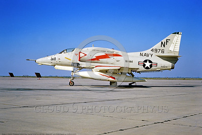 A-4USN-VA-144 0003 A static Douglas A-4F Skyhawk USN 154976 VA-144 ROADRUNNERS USS Bon Homme Richard NF code NAS Lemoore 1977 military airplane picture by Michael Grove