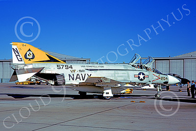 F-4USN 00913 A static McDonnell Douglas F-4J Phantom II US Navy 155794 VF-92 SILVER KINGS USS Constellation NAS Miramar 3-1973 military airplane picture by Michael Grove, Sr