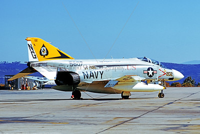 F-4II-USN-VF-92 0001 A static McDonnell Douglas F-4J Phantom II US Navy jet fighter 155807 VF-92 SILVER KINGS USS Constellation NAS Miramar 11-1973 military airplane picture by Michael Grove, Sr     Dwt copy