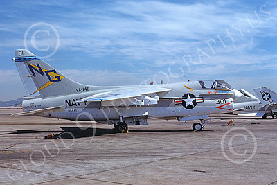 A-7USN 00159 A static Vought A-7E Corsair II USN 159645 VA-146 BLUE DIAMOND USS Constellation NAS Fallon 7-1976 military airplane picture by Michael Grove, Sr
