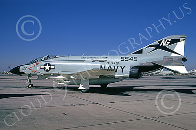 F-4USN 00777 A static McDonnell Douglas F-4J Phantom II US Navy 5545 VF-96 FIGHTING FALCONS USS Constellation NAS Miramar 11-1973 military airplane picture by Michael Grove, Sr
