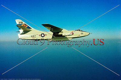 A-3USN-VQ-1 002 A flying Douglas A-3 Skywarrior USN carrier based jet bomber VQ-1 WORLD WATCHERS USS Constellation PR tail code 4-1973 military airplane picture by Robert L Lawson     Dwt