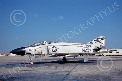 F-4USN 00769 A static McDonnell Douglas F-4J Phantom II US Navy 5810 VF-96 FIGHTING FALCONS USS Constellation NAS Miramar 4-1971 military airplane picture by Duane Kasulka
