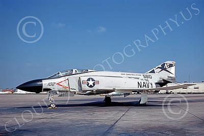 F-4USN 00769 A static McDonnell Douglas F-4J Phantom II US Navy 5810 VF-96 FIGHTING FALCONS USS Constellation NAS Miramar 4-1971 military airplane picture by Duane Kasulka