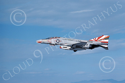F-4USN 00070 A flying sharkmouth McDonnell Douglas F-4J Phantom II US Navy 1000 VF-111 SUNDOWNERS commanding officer's plane USS Coral Sea 5-1976 military airplane picture by Michael Grove, Sr
