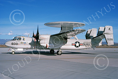 E-2USN 00143 A taxing Grumman E-2C Hawkeye USN 160008 VAW-127 SEABATS USS Coral Sea NAS Fallon 3-1987 military airplane picture by Michael Grove, Sr