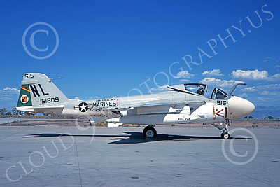 A-6USMC 00171 A static Grumman KA-6D Intruder USMC 151809 VMA(AW)-224 BENGALS USS Coral Sea NL code NAS Fallon 10-1971 military airplane picture by Douglas Olson