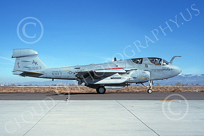 EA-6BUSN 00329 A taxing Grumman EA-6B Prowler USN 161883 VAQ-133 WIZARDS USS Coral Sea NAS Fallon 12-1988 military airplane picture by Michael Grove, Sr