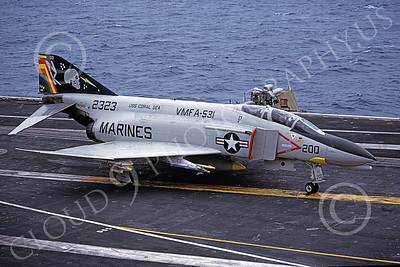 F-4USMC 00200 A McDonnell Douglas F-4N Phantom II USMC 152323 VMFA-531 GREY GHOSTS commanding officer's USS Coral Sea NK Aug 1979 military airplane picture by Pete Clayton