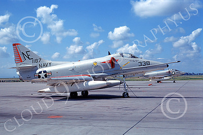 A-4USN 00136 A static Douglas A-4E Skyhawk attack jet US Navy 151187 VA-23 BLACK KNIGHTS USS Coral Sea NAS Lemoore 3-1967 military airplane picture by Clay Janson
