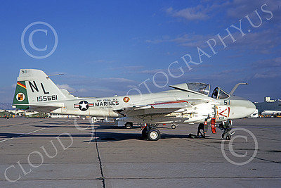 A-6USMC 00169 A static Grumman A-6 Intruder USMC 155661 VMA(AW)-224 BENGALS NL code USS Coral Sea NAS Alameda 10-1971 military airplane picture by Douglas Olson