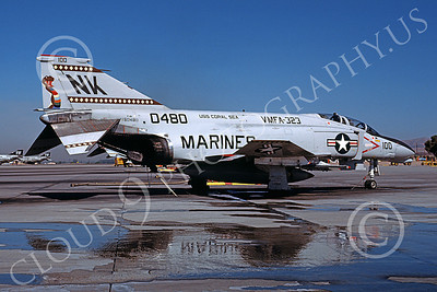 F-4USMC 00257 A static McDonnell Douglas F-4N Phantom II USMC 150480 VMFA-323 DEATH RATTLERS commanding officer's plane USS Coral Sea NK code MCAS El Toro 11-1979 military airplane picture by Michael Grove, Sr
