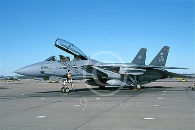 F-14USN 01003 A static Grumman F-14 Tomcat USN 163229 VF-103 JOLLY ROGERS USS Dwight D Eisenhower NAS Oceana 11-2003, by J E Michaels