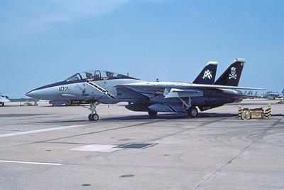 F-14USN 00999 A static Grumman F-14 Tomcat USN 163216 VF-103 JOLLY ROGERS USS Dwight D Eisenhower NAS Oceana 5-1997, by Hollis Jenkins
