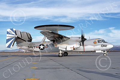 E-2USN 00171 A taxing Grumman E-2C Hawkeye USN 160989 VAW-121 BLUE TAILS USS Dwight D Eisenhower NAS Fallon 12-1979 military airplane picture by Michael Grove, Sr