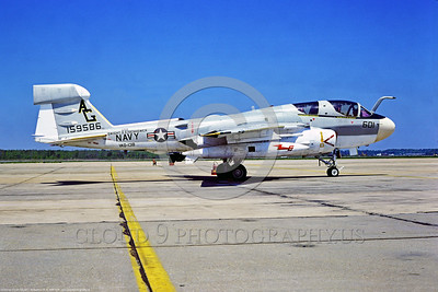 EA-6B-USN-VAQ-138 001 A static Grumman EA-6B Prowler, USN carrier based electronic jammer, 159586, VAQ-138 YELLOW JACKETS, AG tail code, USS Dwight E  Eisenhower, 5-1978 Oceana, military airplane picture by Stephen W  D  Wolf   EEE_1953   Dt