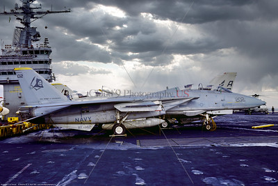 F-14USN-VF-142 0004 A static low viz grey Grumman F-14A Tomcat USN carrier based swing-wing jet fighter 159452 VF-142 GHOSTRIDERS on USS Dwight D  Eisenhower 9-1981 Portsmouth military airplane picture by Stephen W  D  Wolf   FFF_5033   Dt