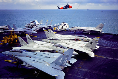 F-14USN-VF-143 0010 A static low viz grey Grumman F-14 Tomcat USN carrier based swing-wing jet fighter VF-143 PUKIN DOGS USS Dwight D  Eisenhower AG tail code 9-1981 Portsmouth military airplane picture by Stephen W  D  Wolf   FFF_5067   Dt