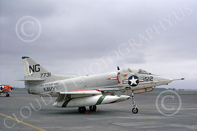 A-4USN 00036 A static US Navy Douglas A-4C Skyhawk, 147731, VA-72 BLUE HAWKS, USS Enterprise, Atsugi 5-1968, military airplane picture, by Mel Lawrence