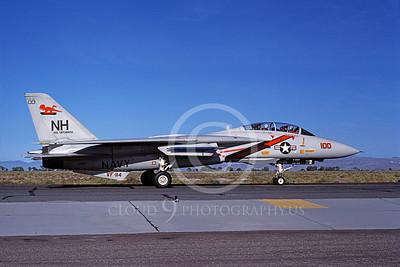 F-14USN 01065 A taxing Grumman F-14 Tomcat USN VF-114 AARDVARKS USS Enterprise NAS Fallon 9-1983, by Michael Grove, Sr