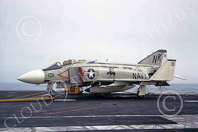 F-4USN 00603 A static McDonnell Douglas F-4J Phantom II US Navy 5879 VF-143 PUKING DOGS on USS Enterprise NK Oct 1972 military airplane picture by Ken Colenzo