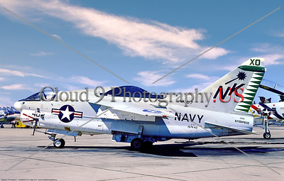 A-7USN-VA-27 003 A static Vought A-7E Corsair II, USN carrier based attack jet, 157440, VA-27 ROYAL MACES USS Enterprise, 9-1977 MCAS Yuma, military airplane picture by Stephen W  D  Wolf coll           DDD_4703     Dt