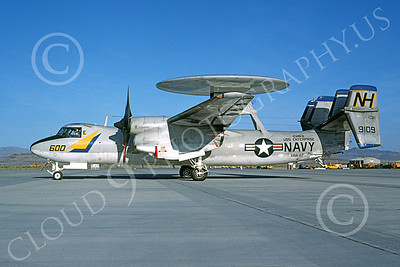 E-2USN 00117 A taxing Grumman E-2C Hawkeye USN 159109 VAW-117 WALLBANGERS USS Enterprise NAS Fallon 9-1983, by Michael Grove, Sr