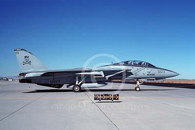 F-14USN 00975 A taxing Grumman F-14 Tomcat USN 162691 VF-103 JOLLY ROGERS USS Enterprise NAS Fallon 11-1995, by Michael Grove, Sr