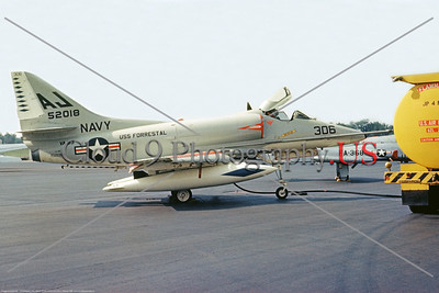 A-4USN-VA-83 001 A static USN Douglas A-4E Skyhawk attack jet, 152018, VA-83 RAMPAGERS, USS Forrestal 6-1965, military airplane picture, by Clay Janson     DT copy