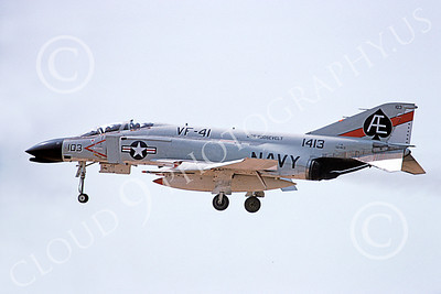 F-4USN 00006 A landing McDonnell Douglas F-4 Phantom II US Navy 151413 VF-41 BLACK ACES USS Roosevelt Aug 1975 military airplane picture by Michael Grove, Sr