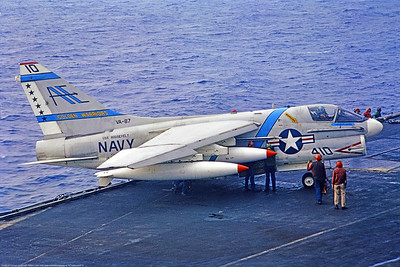 A-7-USN-VA-87 0001 A Vought A-7 Corsair II USN attack jet VA-87 GOLDEN WARRIORS USS Roosevelt AE tail code, being prepared for flight ops on a carrier, 8-72, military airplane picture by William Luntz via S W D  Wolf coll      853_4996     DoneWT