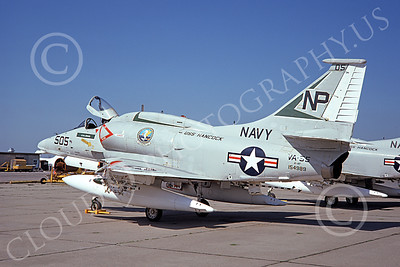 A-4USN 00161 A USN Douglas A-4F Skyhawk attack jet, 154989, VA-55 WARHORSES USS Hancock, NAS Lemoore 3-1975, airplane picture, by Doug Olson